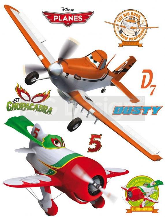 Samolepicí dekorace Planes Dusty DK-1764, 85x65 cm - Dětské samolepky na zeď