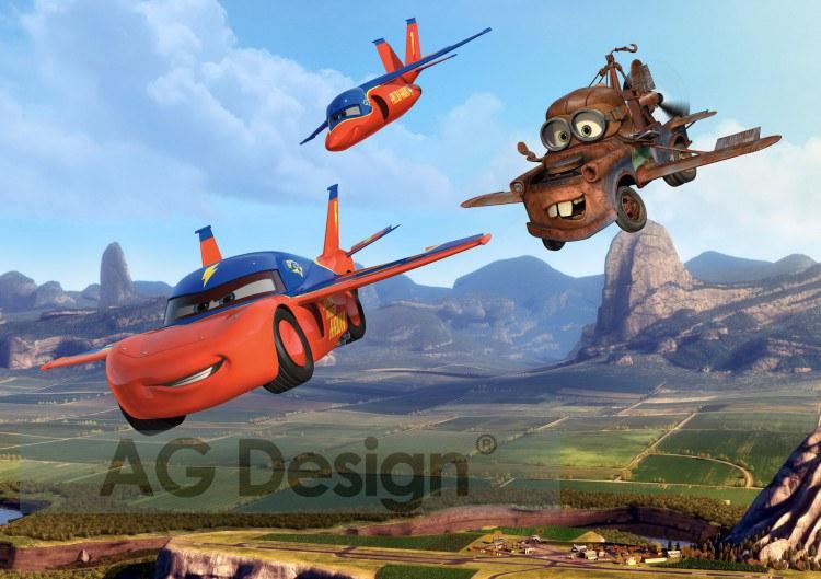 Dětská papírová fototapeta AG Design Cars létající FTDS-2206, rozměry 360 x 254 cm