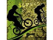 Vliesová fototapeta Dimex Zelení cyklisti L-424 | 220x220 cm Fototapety vliesové