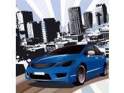 Vliesová fototapeta Dimex Modré auto L-428 | 220x220 cm Fototapety vliesové