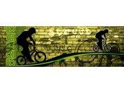 Vliesová fototapeta Dimex Zelený cyklista M-388 | 330x110 cm Fototapety vliesové