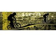 Vliesová fototapeta Dimex Žlutý cyklista M-389 | 330x110 cm Fototapety vliesové