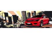 Vliesová fototapeta Dimex Červené auto ve městě M-391   330x110 cm Fototapety vliesové
