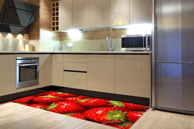 Samolepicí fototapeta na podlahu Jahody FL-85-017, 85x170 cm - Na podlahu