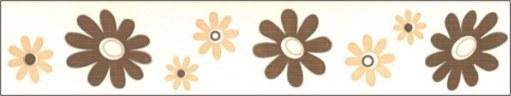 Samolepící bordura Hnědé květy SB02-368, rozměry 5 cm x 10 m - Samolepící bordury