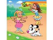 Vliesová fototapeta Dimex Dívky a pes L-287 | 220x220 cm Fototapety pro děti