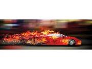 Vliesová fototapeta Dimex Červené auto v plamenech M-215 | 330x110 cm Fototapety vliesové