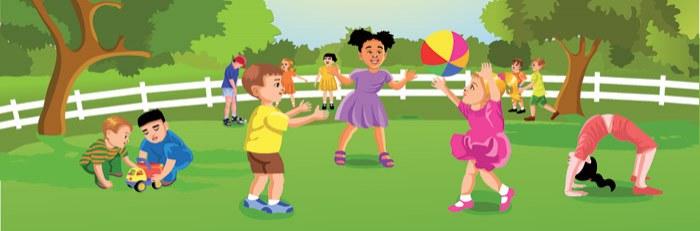 Vliesová fototapeta Dimex Děti na zahradě M-239   330x110 cm - Fototapety pro děti