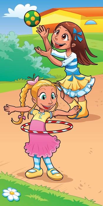 Vliesová fototapeta Děvčata na hřišti S-228 | 110x220 cm - Fototapety pro děti