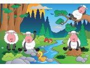 Vliesová fototapeta Dimex Ovečky v lese XL-278   330x220 cm Fototapety pro děti