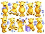 Samolepicí dekorace Medvědi D40501, 70x50 cm Dětské samolepky na zeď