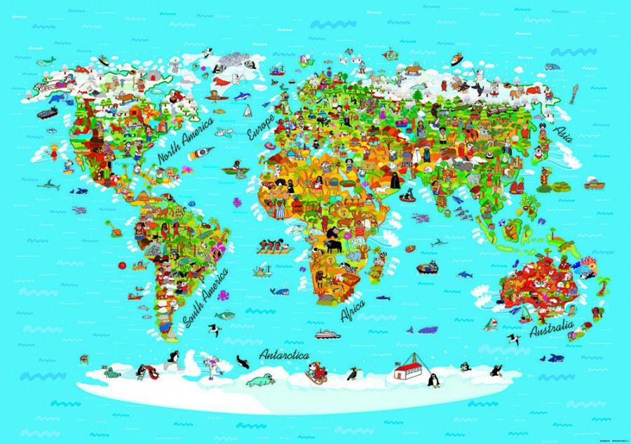 Fototapeta AG Mapa Světa FTNS-2441 | 360x270 cm - Fototapety pro děti