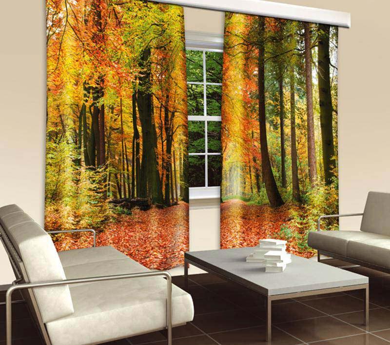Závěs Podzimní les CU-280-009, 280x245 cm - Závěsy