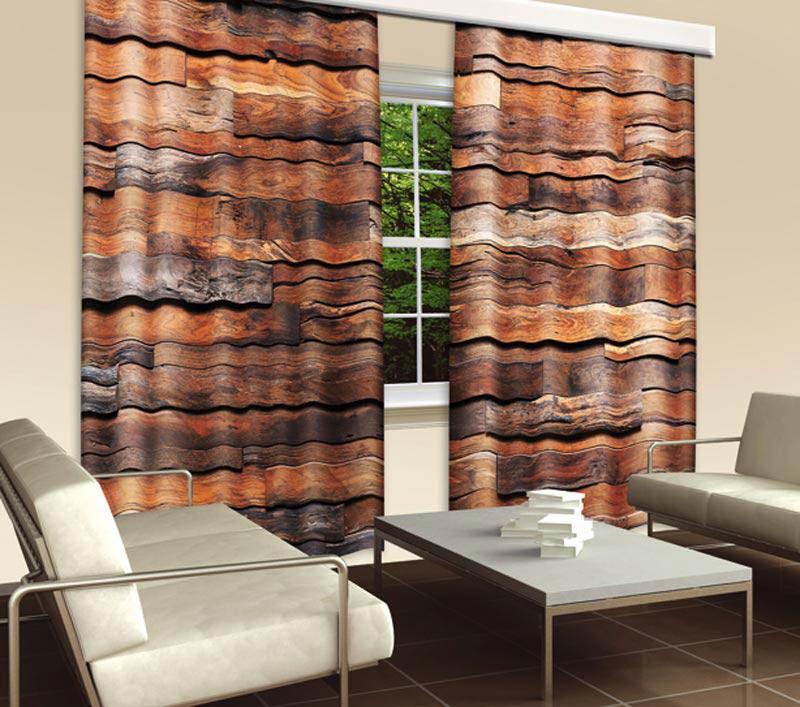 Závěs Dřevěná Zeď CU-280-022, 280x245 cm - Závěsy
