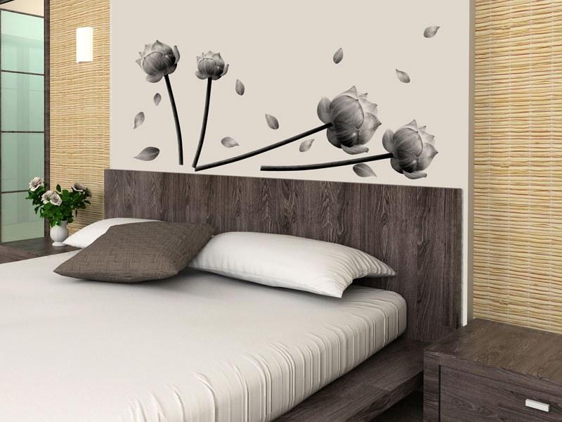 Samolepící dekorace na zeď Šedé květy ST1-027 - Samolepící dekorace na zeď