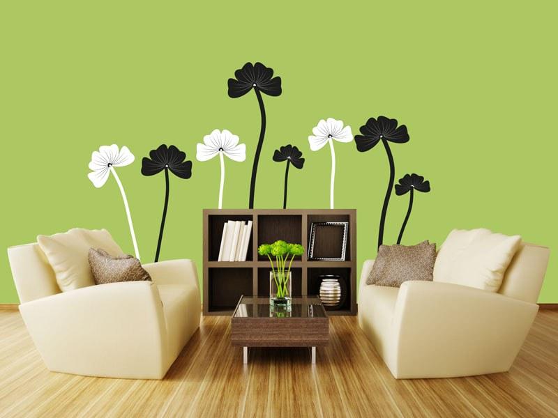 Samolepící dekorace na zeď Černobílé květiny ST2-024 - Samolepící dekorace na zeď