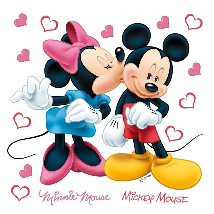 Samolepicí dekorace Minnie a Mickey DKS-1085, 30x30 cm - Dětské samolepky na zeď