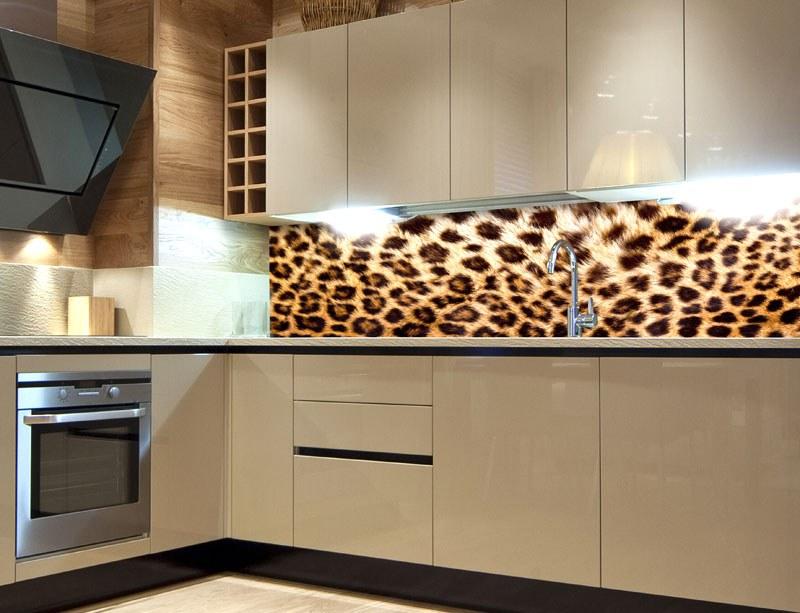 Fototapeta do kuchyně Leopardí kůže KI-260-069, 260x60 cm - Samolepící fototapety