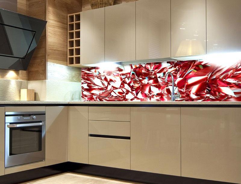 Fototapeta do kuchyně Červený krystal KI-260-071, 260x60 cm - Samolepící fototapety