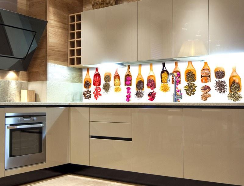 Fototapeta do kuchyně Lopatky s bylinkami KI-260-076, 260x60 cm - Samolepící fototapety
