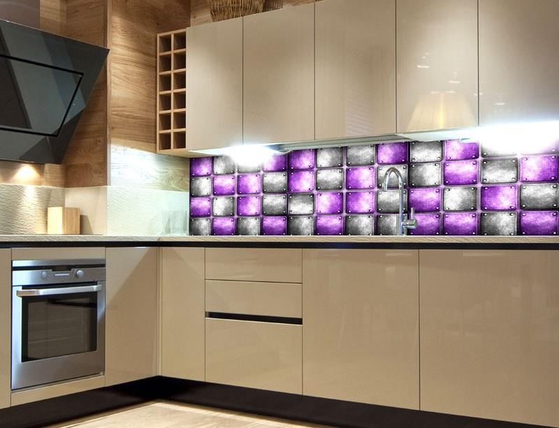 Fototapeta do kuchyně Kovové kachličky KI-260-078, 260x60 cm - Samolepící fototapety