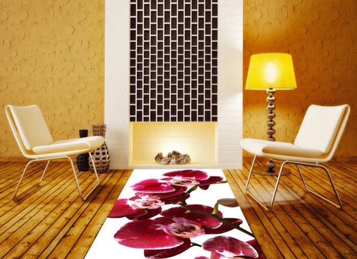 Samolepicí fototapeta na podlahu Červená orchidej FL-85-006, 85x170 cm - Na podlahu