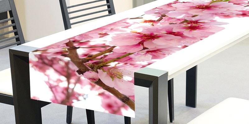 Ubrus-běhoun na stůl Květy jabloně TS-012, 40x140 cm - Ubrusy