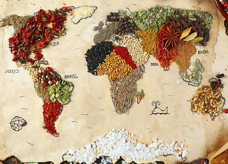 Fototapeta AG Mapa světa s koření FTNXXL-2484 | 360x270 cm - Vliesové fototapety AG