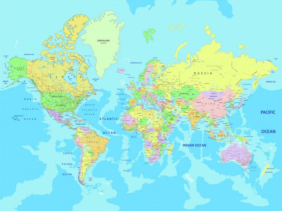 Fototapeta AG Mapa světa FTNXXL-2495 | 360x270 cm - Vliesové fototapety AG