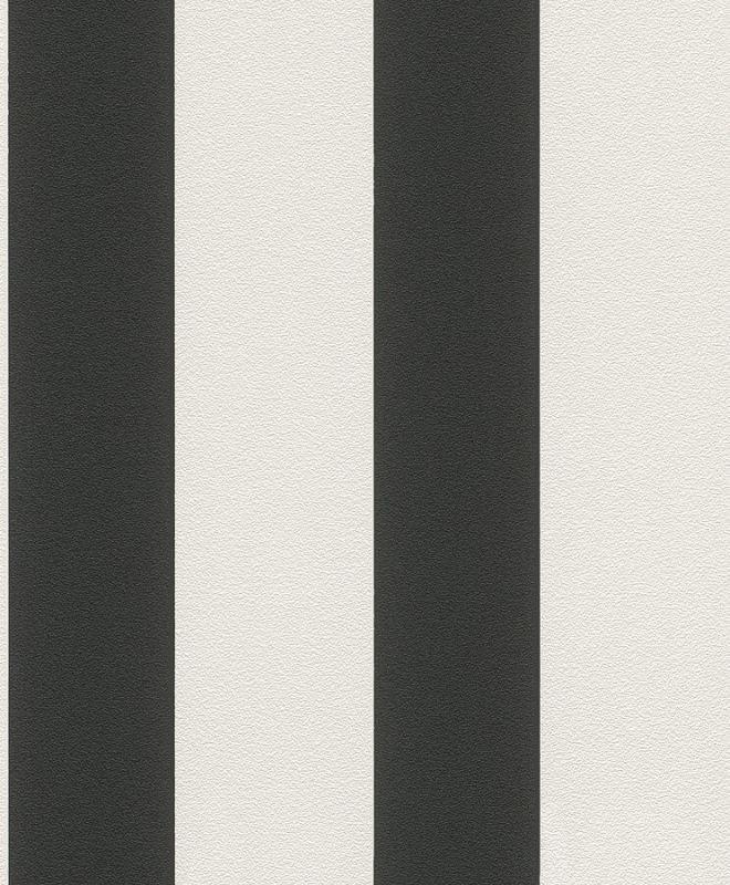 Vliesové tapety na zeď Rasch Prego 700275 | černo bílé pruhy - Výprodej