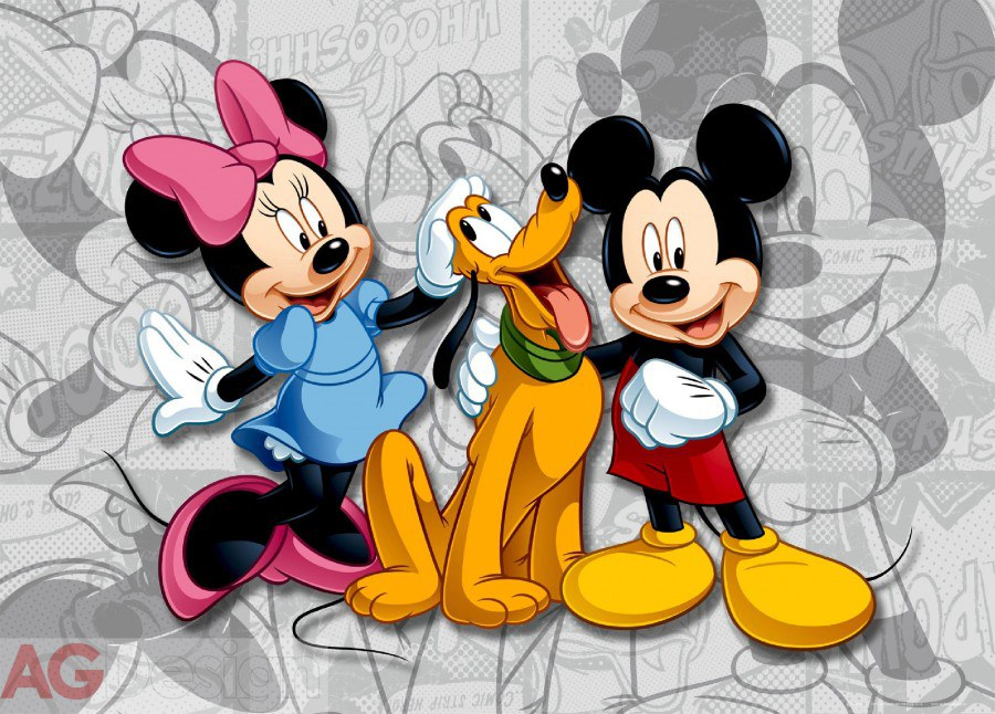 Dětská papírová fototapeta AG Design Mickey a Minnie FTDM-0284, rozměry 160 x 115 cm