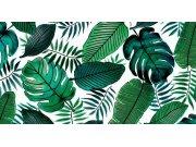 PVC ubrus bílý podklad zelené listy, šíře 140 cm x návin 20 m Ubrusy