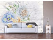 Fototapeta malované květiny na dřevu FTNXXL-1218 Fototapety vliesové