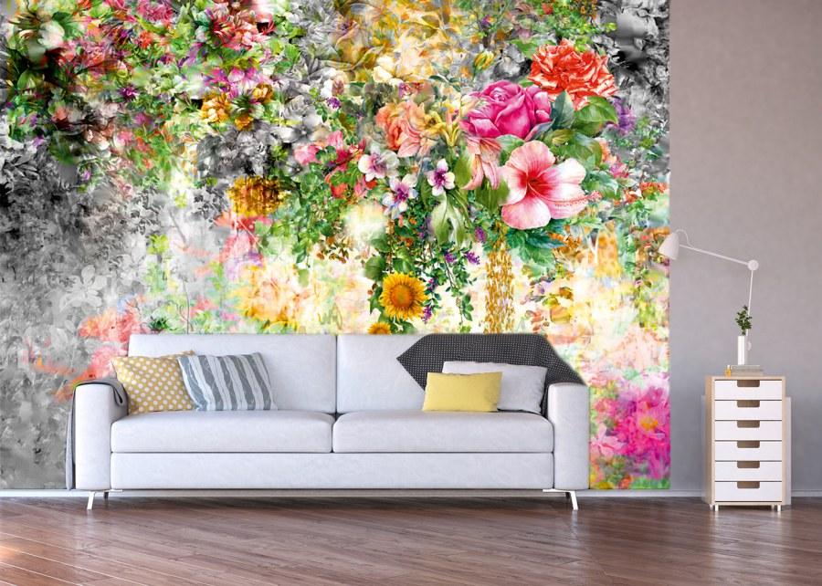 Fototapeta květinová stěna FTNXXL-1219 - Vliesové fototapety AG