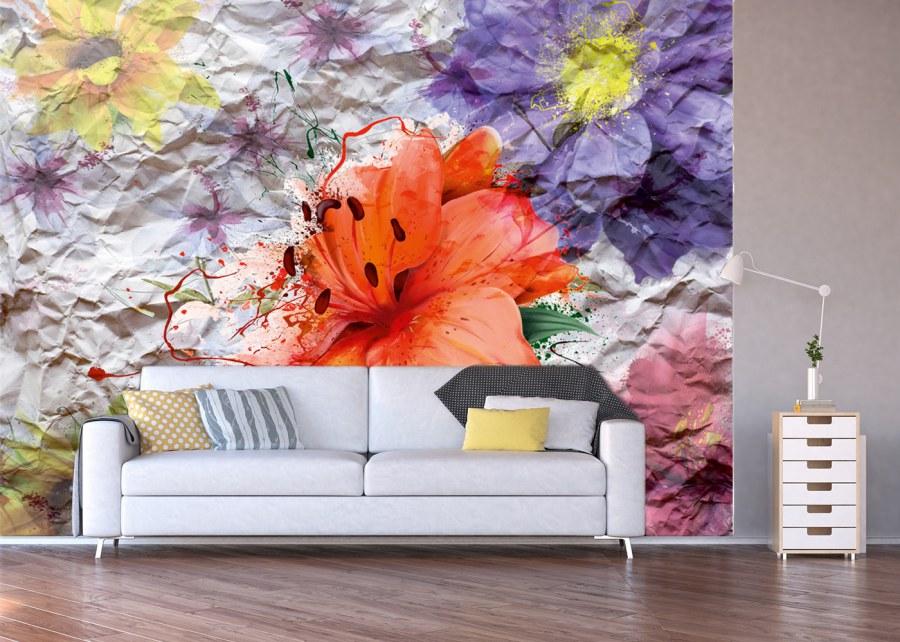 Fototapeta květiny na papíru FTNXXL-1223 - Fototapety vliesové