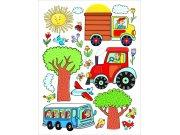 Samolepicí dekorace Traktor DK-2314, 85x65 cm Dětské samolepky na zeď