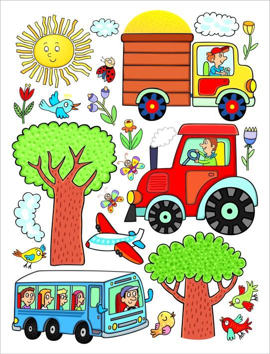 Samolepicí dekorace Traktor DK-2314, 85x65 cm - Dětské samolepky na zeď