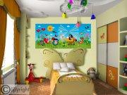 Vliesová fototapeta Krtek a vrtulník FTDNH-5373 | 202x90 cm Fototapety pro děti