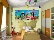 Vliesová fototapeta Krtek a auto FTDNH-5374 | 202x90 cm Fototapety pro děti