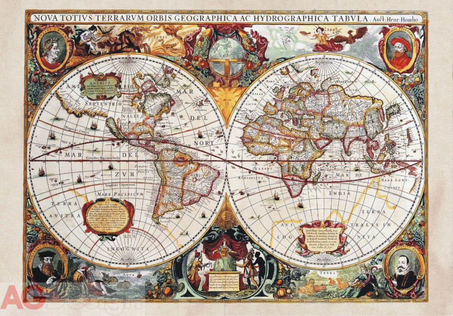 Vliesová fototapeta AG Design Old Map FTNXXL-0351, rozměry 330 x 255 cm