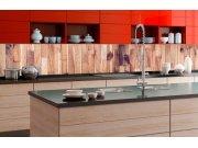 Samolepicí fototapeta do kuchyně - Dřevěná stěna KI-350-086 | 350x60 cm Samolepící fototapety - Na kuchyňskou linku