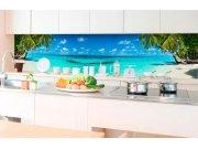 Samolepicí fototapeta do kuchyně - Pláž v ráji KI-350-091 | 350x60 cm Samolepící fototapety - Na kuchyňskou linku