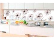 Samolepicí fototapeta do kuchyně - Červeno-černé květiny KI-350-098 | 350x60 cm Samolepící fototapety - Na kuchyňskou linku