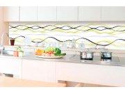 Samolepicí fototapeta do kuchyně - Žluté vlny KI-350-100 | 350x60 cm Samolepící fototapety - Na kuchyňskou linku