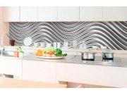 Samolepicí fototapeta do kuchyně - Stříbrné vlny KI-350-103 | 350x60 cm Samolepící fototapety - Na kuchyňskou linku