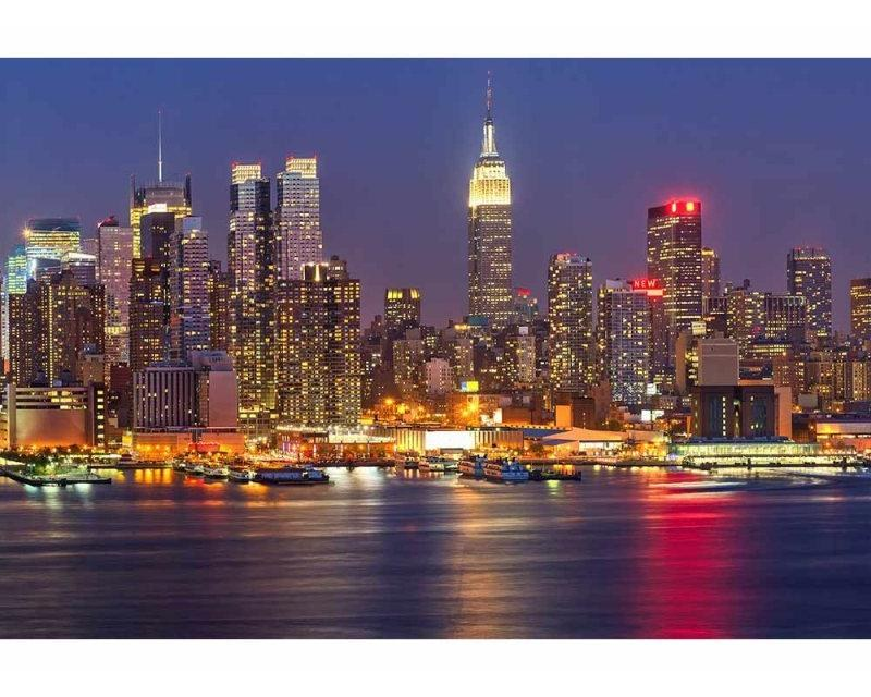 Vliesové fototapety na zeď Manhattan v noci | MS-5-0003 | 375x250 cm - Fototapety vliesové