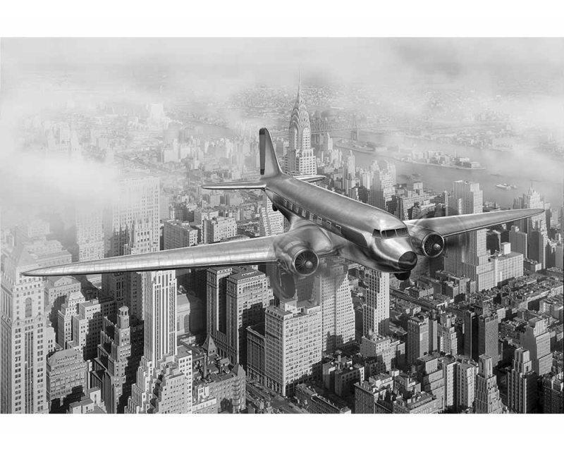 Vliesové fototapety na zeď Letadlo nad městem | MS-5-0006 | 375x250 cm - Fototapety vliesové