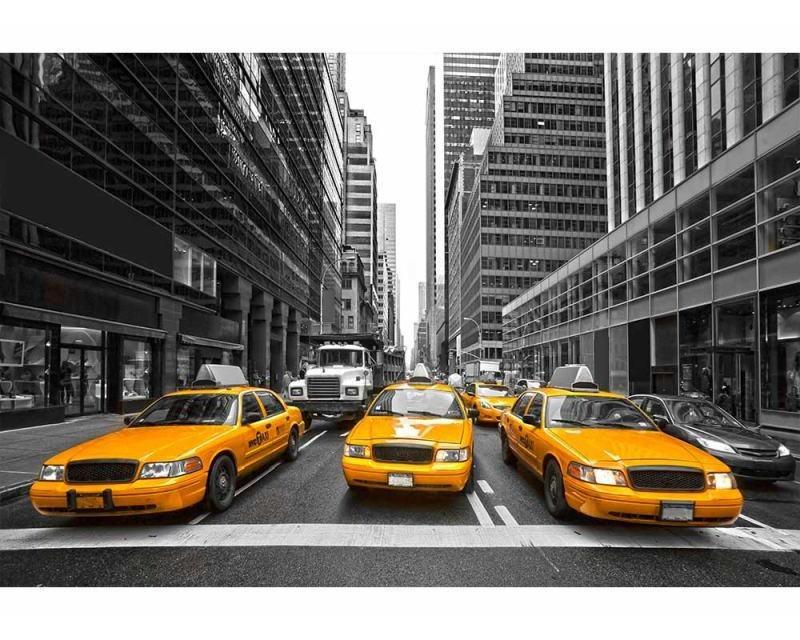 Vliesové fototapety na zeď Taxi ve městě | MS-5-0008 | 375x250 cm - Fototapety vliesové