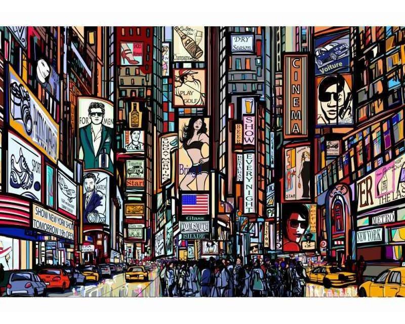 Vliesové fototapety na zeď Náměstí Times Square | MS-5-0013 | 375x250 cm - Fototapety vliesové