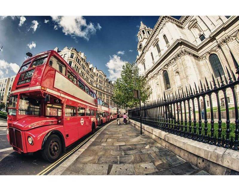 Vliesové fototapety na zeď Londýnský autobus | MS-5-0017 | 375x250 cm - Fototapety vliesové
